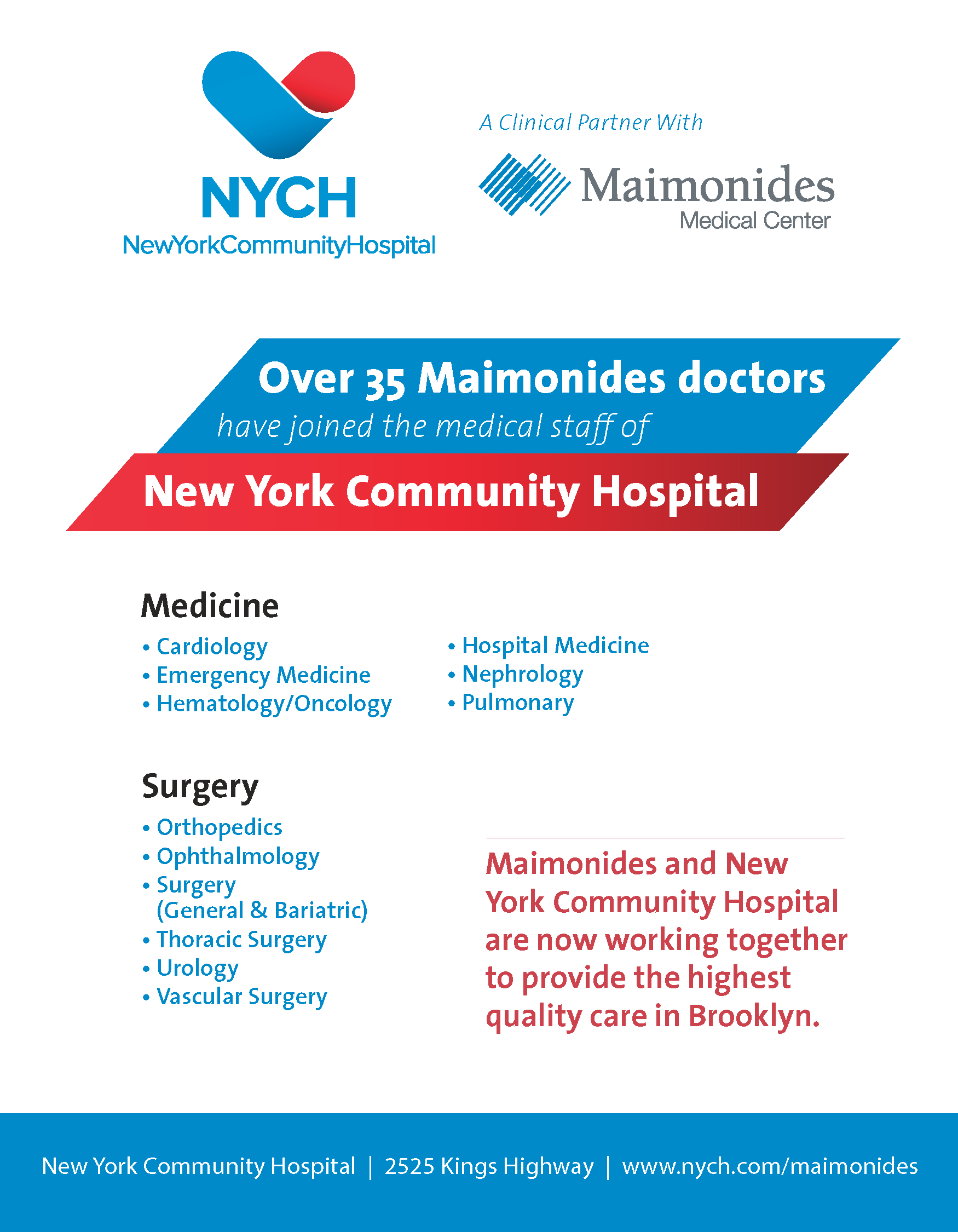 NYCH   Maimonides partners with NYCH